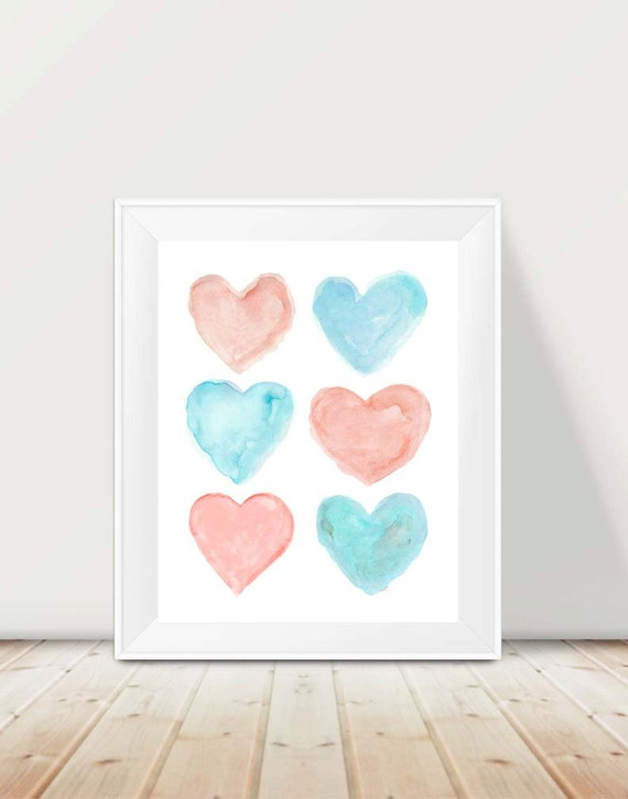 Coral and Aqua Hearts Print, 11x14 Watercolor