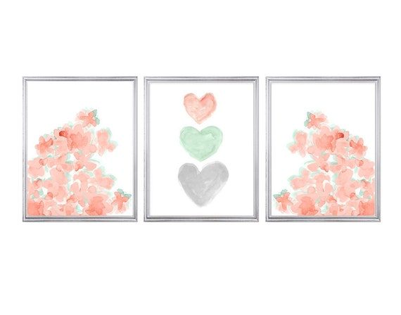 Coral and Mint Nursery Print Set, 11x14 Set of 3