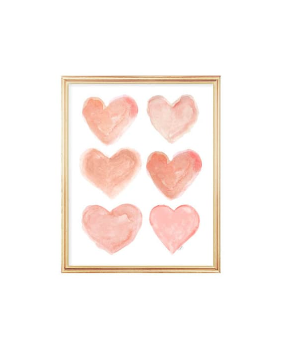 Coral Hearts Watercolor Print for Girls Room, 8x10
