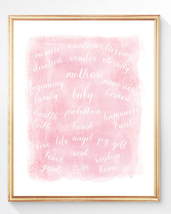 Pregnancy Gift, 8x10, 11x14 Blessings Pink Print