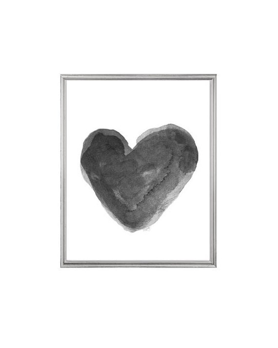 Bold Black Watercolor Heart Print, 5x7, 8x10
