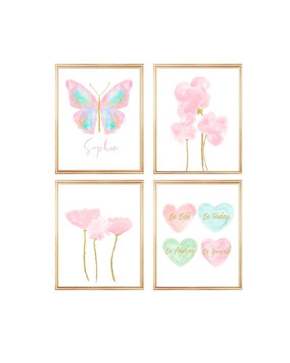 Pastel Butterfly and Pink Flowers, Print Set of for Girls Bedroom