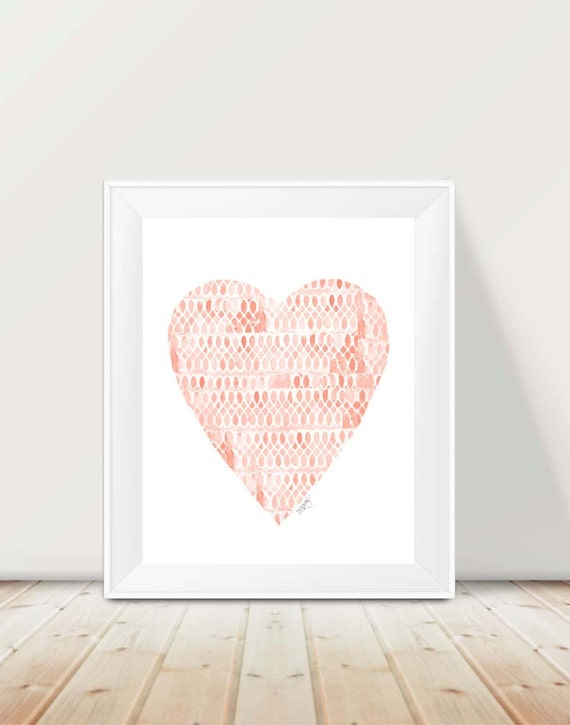 Lacey Coral Heart Print, 11x14