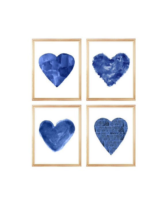 Midnight Blue Artwork, Set of 4 - 8x10 Heart Prints