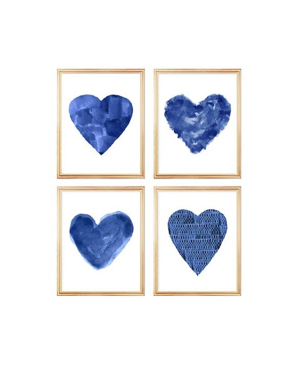 Midnight Blue Artwork, Set of 4  Heart Prints