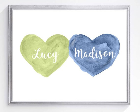Blue and Green Nursery Print for Siblings,  8x10 Personalized Print