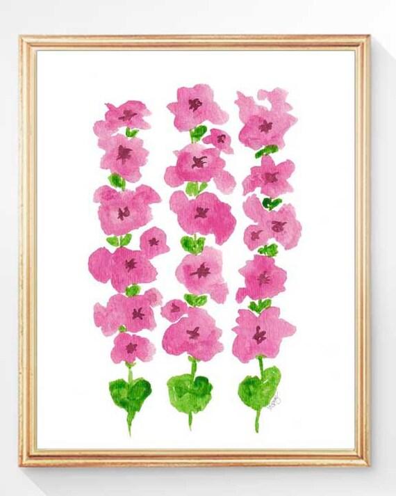 Pink Hollyhocks Watercolor Print, 8x10