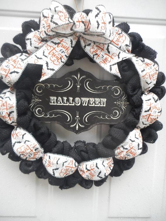 Couronne Dhalloween Noir Couronne Halloween Toile De Jute Etsy