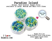 Paradise Island, Enamel Frit, torch fired, kiln fired, enamel art, enamel jewelry, enamel tools, enamel supplies I Love Enamels.com