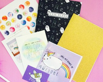 Mystery Box   Stationery Lucky Dip Box: surprise collection of cards & notebooks stationery. A little magic mystery box of Kawaii!
