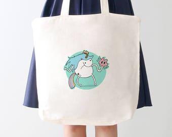 Unicorn Tickle Tote Bag: kawaii eco friendly shopping bag with unicorn illustration. Useful & fun gift for pin ups and Unicorn Gift idea!