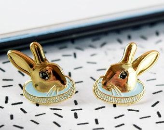 Rabbit Earrings | stud earrings - gold earrings - bunny earrings - animal earrings - alice in wonderland - bridesmaid gift - white rabbit