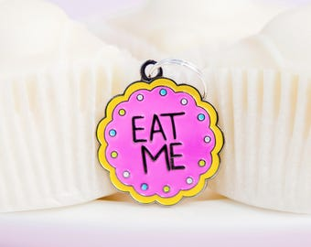 Eat Me Pet ID Charm Tag: A cookie Illustrated fairytale identity disc for cat collar or dog owner. Alice in Wonderland enthusiast gift idea!