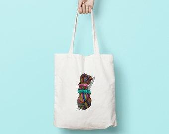 Rainbow Skein Tote Bag | crochet project bag - knitting bag - yarn storage - project bag - crochet bag - canvas tote bag - yarn bag - tote
