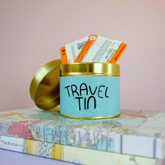Travel Tin A Gold Keepsakememory Tin Or Box For Him Or For Etsy