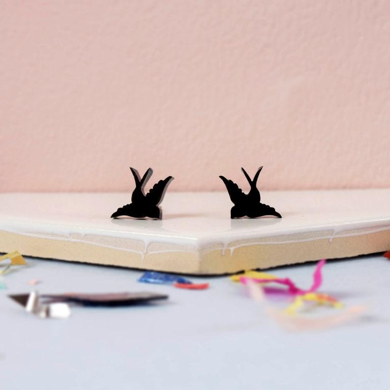 5a967d45b Black Swallow Stud Earrings: silver bird animal earrings for   Etsy