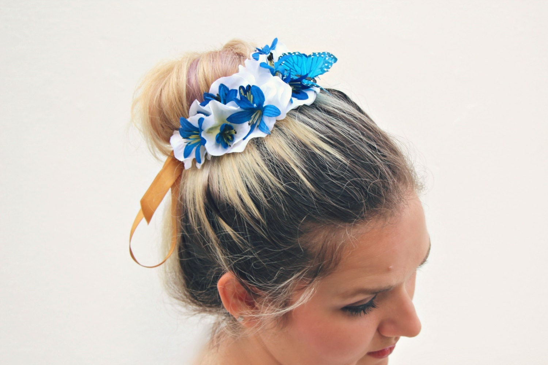 The Butterfly Blue Bun Belt Floral Wreath Flower Crown For A
