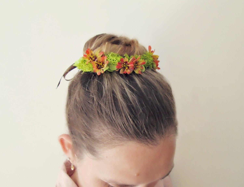 Mosie Flower And Moss Bun Belt Rustic Flower Crown Nature Etsy