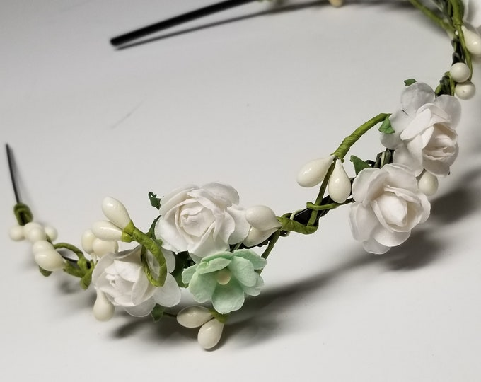 Featured listing image: A Little Mint Flowers Wedding Head Piece- Wedding Headband- Mint Flower Headband- Ship Fast