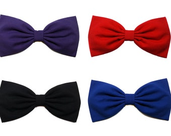 Girls Hair Bows- Black, Red, Blue, Purple- Hair Bows for Teens, Cotton Hair Bow Sets, Bow Clip, HairBow Headbands