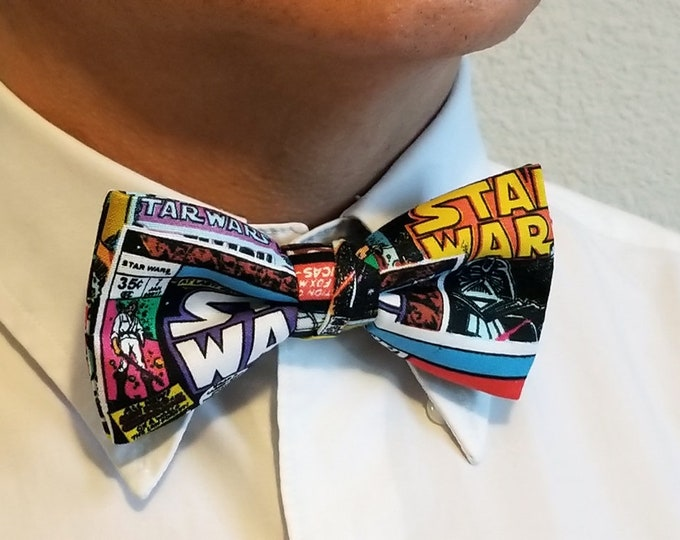 Featured listing image: Star Wars Bow Tie--Star Wars Comic Bow Tie--Comic Book Bow Tie--Adjustable Neck Strap, Pre Tied--Comic Con, Gifts for Him