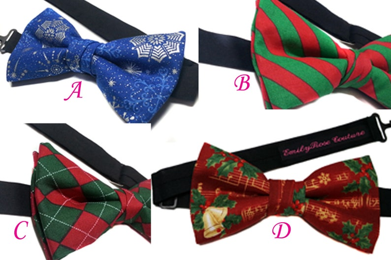 Snow Flakes Newborn to Adult Christmas Bow Tie Handmade Cotton Jingle Bells Bow Tie-Red and Green Stripes Adjustable Father and Son
