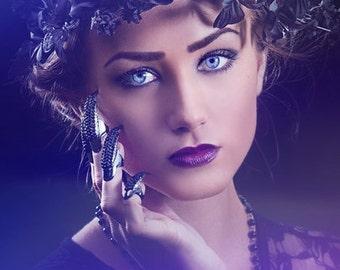 Black Flower Crown--Black Rose Flower Crown--Goth Flower Crown, High Fashion, Editorial--Woodland Vines--Halloween, Wedding