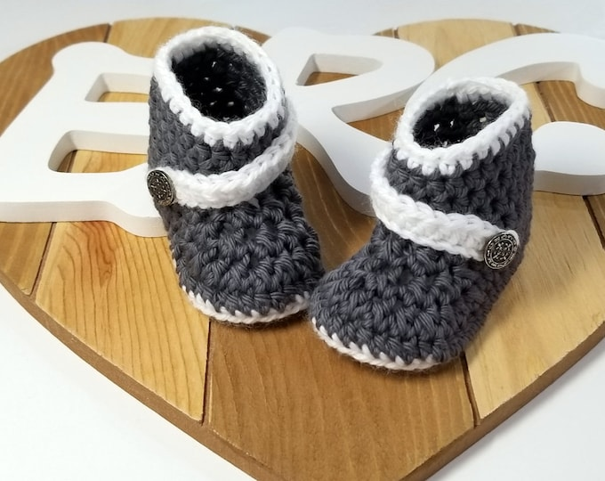 Featured listing image: Unisex Baby Boots- Crochet Baby Booties- Gray Charcoal Booties- Gender Neutral Baby Shoes- Handmade In The USA- Gift For Baby- For Infant