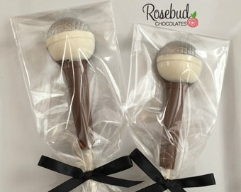 12 Milk Chocolate Microphone Lollipop Candy Favors Birthday Dance Party