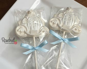 12 Princess COACH Chocolate Lollipops Carriage Birthday Wedding Party  Favors Fairy Tale Princess Candy Silver Dusted Cinderella 319a200ffd8b