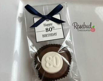 12 80 Chocolate Covered Oreo Cookies Happy 80th Birthday Custom Square Tags Party Favors Eighty 80s