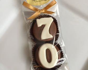 8 Pairs 70 Chocolate Covered Oreo Cookie Candy Party Favors Number SEVENTY 70th Birthday 70s