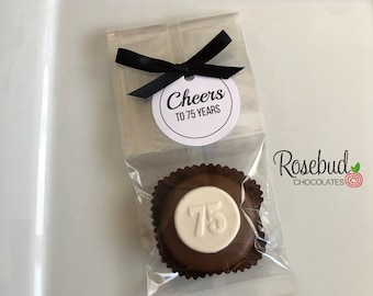 12 CHEERS to 75 YEARS Chocolate Covered Oreo Cookies Scallop Round Tag 75th Birthday Party Favors