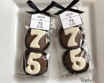 8 CHEERS TO 75 YEARS Custom Square Tags Chocolate Covered Oreo Cookies Candy 75th Birthday Party Favors Numbers