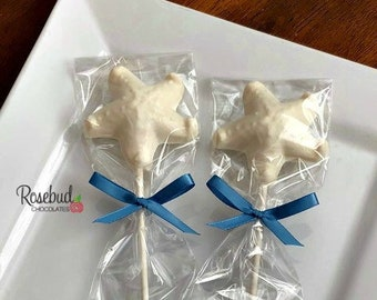 12 STARFISH Chocolate Lollipops Beach Nautical Luau Wedding Birthday Party Favors Candy Sea Shells