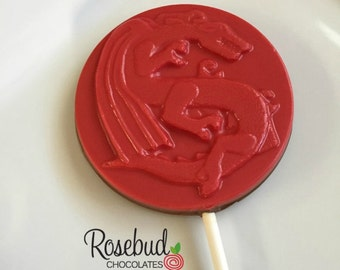 12 DRAGON Milk Chocolate Lollipops Red Birthday Party Favors Candy Sweets