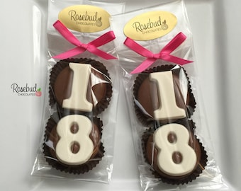 8 Pairs 18 Chocolate Covered Oreo Cookie Candy Party Favors Number Eighteen Eighteenth 18th Birthday Decorations Anniversary 50s