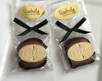 12 70 YEARS Chocolate Covered Oreo Cookie Favors Gold Dusted 70th Birthday Party Seventy