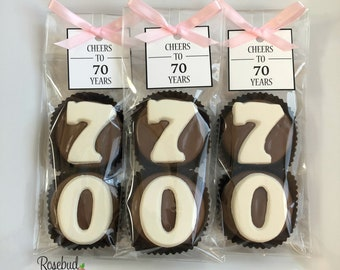 8 Pairs 70 Chocolate Covered Oreo Cookies CHEERS To YEARS Custom Square Tag Candy 70th Birthday Party Favors Number SEVENTY 70s