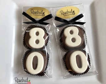 8 Pairs 80 Chocolate Covered Oreo Cookie Candy Party Favors Number EIGHTY 80th Birthday 80s