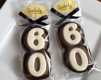 8 Pairs 60 Chocolate Covered Oreo Cookie Candy Party Favors Number SIXTY 60th Birthday Anniversary 60s