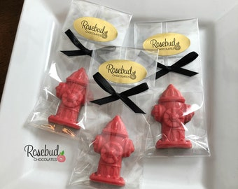 12 FIRE HYDRANT Chocolate Candy Party Favors Fire Dept Theme Birthday Ideas Retirement