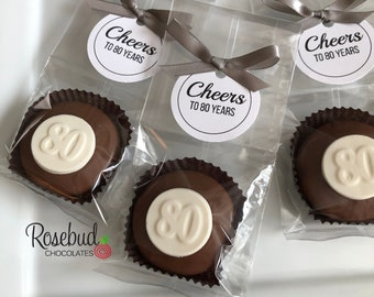 12 CHEERS to 80 YEARS Chocolate Covered Oreo Cookies Scallop Round Tag 80th Birthday Party Favors