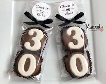 """8 Pairs """"CHEERS to 30 Years"""" LABEL #30 Chocolate Covered Oreo Cookies 30th Birthday Party Favors Numbers Round Sticker"""