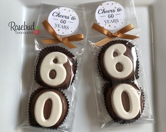 """8 Pairs """"CHEERS to 60 Years"""" Gold Dot LABEL #60 Chocolate Covered Oreo Cookies 60th Birthday Party Favors"""