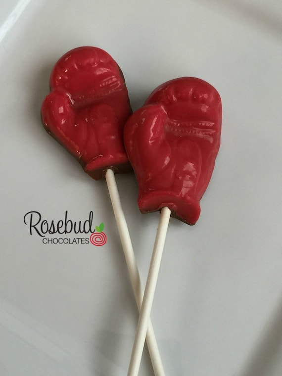 40 BOXING GLOVES Chocolate Lollipops Birthday Party Favors Etsy Gorgeous Boxing Party Theme Decorations