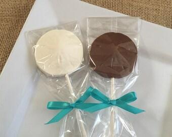 12 Chocolate Sand Dollar Lollipops Beach Wedding Nautical Birthday Party Candy Favors Anniversary