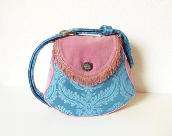 """Fringed French Tapestry Medieval Brocade Marie Antoinette Purse """"Almha"""" Light Blue Pink Gothic Boho Hippie Fairy Velvet Gypsy Victorian Bag"""