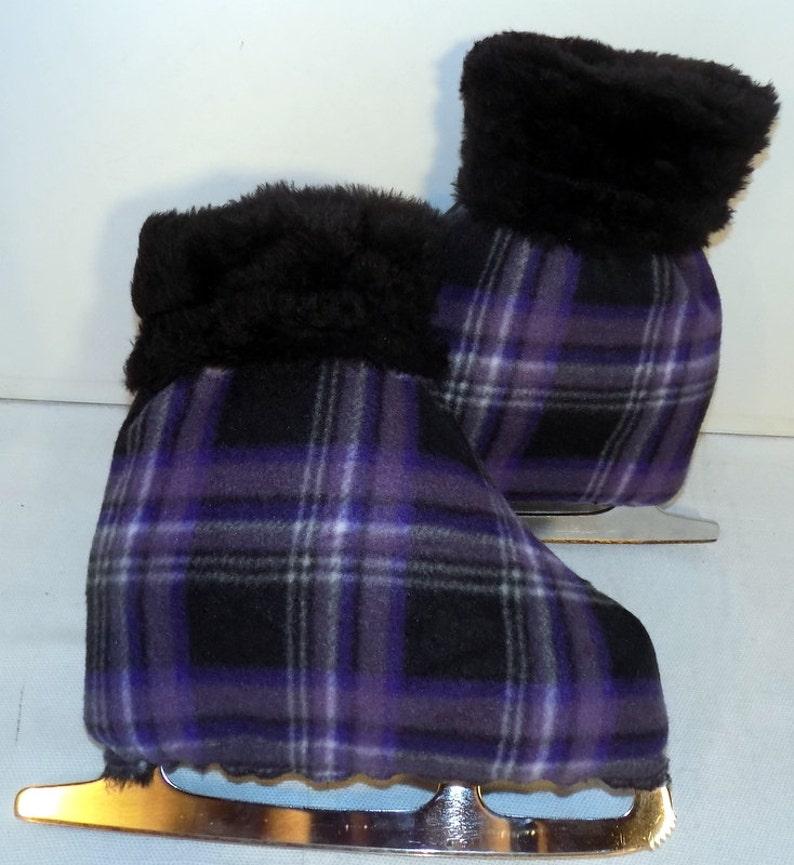 Melvage/'s Ice Skate Boot Warmers /& Hockey Slip-overs Purple Plaid Size 7-10