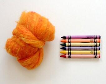 TEXTURED WOOL BATTING - Marigold Orange - 1 oz. fiber for For needle felting , spinning , wet felting, and nuno felting